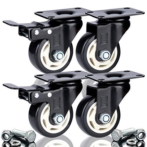 DSL - 4 rotelle resistenti da 75 mm con doppio cuscinetto Castor + 2 freni Castor in gomma, Rotelle girevoli per carrelli mobili fino a 400 kg.