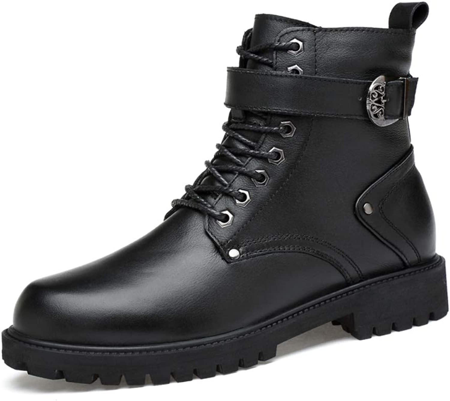 Men's Leather Warm Cotton Boots Non-Slip Waterproof Motorcycle Boots