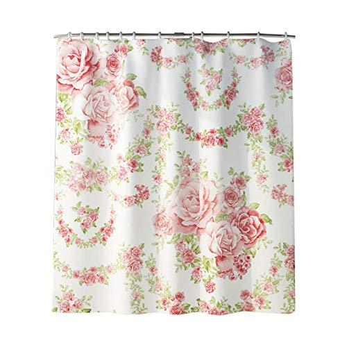 HERCHR Duschvorhang, 180 x 180 cm Blumenduschvorhang Wasserdicht Duschvorhang mit Rose-Aufdruck für Modernes Badezimmer, maschinenwaschbar