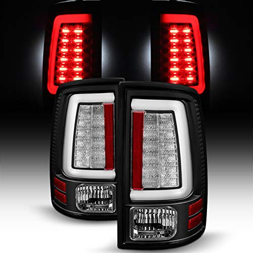 For [C-Shape LED Light Lube] 2013-2018 Dodge Ram Pickup Truck (DS/DJ/D2) Black Tail Lights Rear Brake Lamps Left+Right Pair