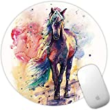 Marphe Mouse Pad Watercolor Horse Mousepad Non-Slip Rubber Gaming Mouse Pad Round Mouse Pads for Computers Laptop