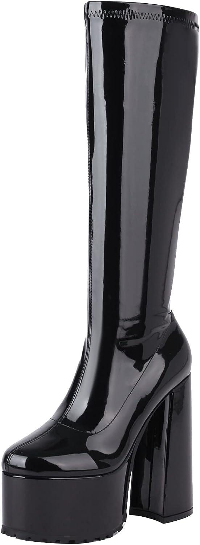 vivianly Women Platform Knee High Boots Round Toe Block High Heel Boots Side Zipper Combat Booties