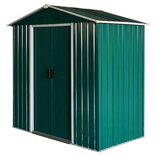 Outsunny Caseta de Jardín 2,2 m² Cobertizo de Acero Galvanizado para Almacenamiento de Herramientas con Puerta Corrediza 194x110x184 cm Verde