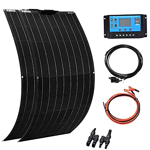 XINPUGUANG 2pcs 100W Flexible Solar Panel 12V 200W Solar Kit Monoctrystalline Module 20A Charge Controller Extension Cable for Battery RV Car Boat Trailer (200W Solar Kit)