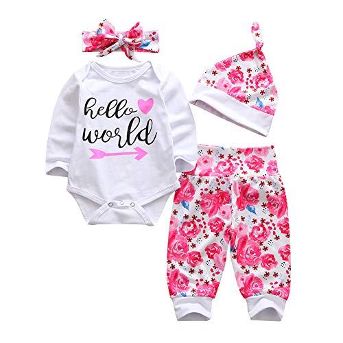 Geagodelia 3tlg Babykleidung Set Baby Mädchen Langarm Strampler Body + Lang Hose Legging Sommer Kleidung 6 Monate Neugeborene Outfits Mütze Hello World (Weiß Strampler + pink Hose, 0-3 Monate)
