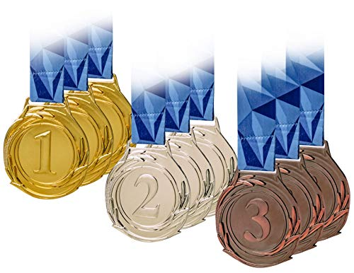 9 Piece Award Medals Set, Olympic Style Medal, Gold Silver Bronze. Made of Strong Premium Metal with V Neck Ribbon - Prize for Events, Classrooms, Office Games and Sports, 1st 2nd 3rd Place