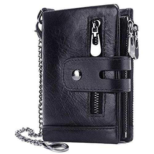 Men Wallet with Chain Black Leather Double Zipper Design and Rfid Blocking Trifold Wallets Minimalist Coin Pocket