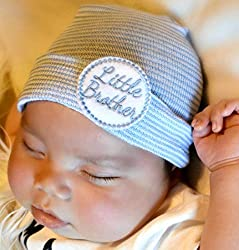 Image: Pink and Blue Bonnets Boutique | Newborn Little Brother Hat, Boy beanie, hospital baby hat 0-3 months, Infant Beanie Cap