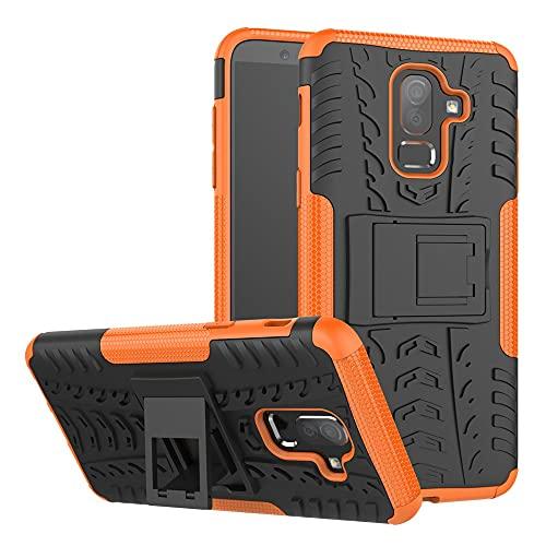 ZHANGHUI Funda Protectora Estuche Protector para Samsung Galaxy J8 2018, TPU + PC Bumper Híbrido Híbrido de Grado Militar, Caja del teléfono a Prueba de Golpes con pienstero (Color : Orange)