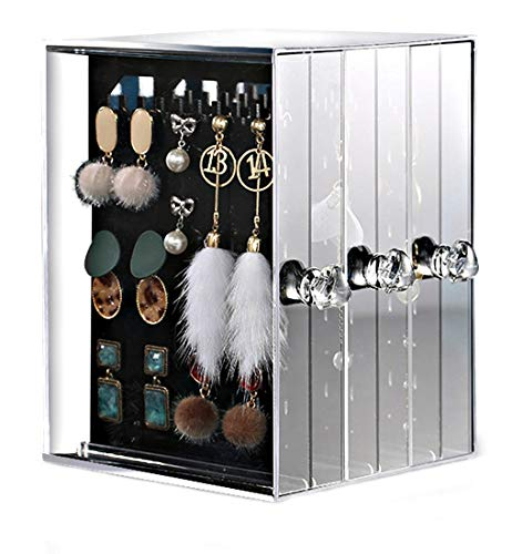 Femongy Acrylic Earring Holder, Earring Display Stand, Dustproof Earring Studs Storage Organiser,Jewellery Organiser Storage Box,Jewellery Holder for Earring Bracelet Necklace Rings(Transparent Black)