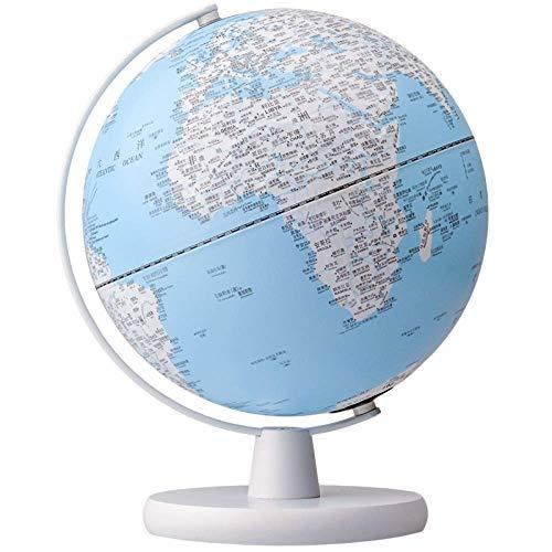 DSHUJC Globos de 25 cm Mapa HD con LED y Base de Madera en Relieve Globo inglés Light Decoración del hogar con diversión y educación
