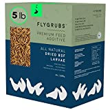 FLYGRUBS Superior to Dried Mealworms for Chickens (5 lbs) - Non-GMO - 85X More Calcium Than Meal Worms - Chicken Feed & Molting Supplement - BSF Larvae Treats for Hens, Ducks, Birds