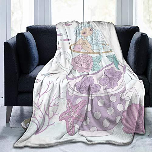 Qing_II - Manta de forro polar con diseño de sirena, océano, princesa, vacaciones, mar bajo el agua, diseño de dibujos animados de verano, franela tropical, de viaje, para invierno, suave, cálida, manta de 50 x 65 pulgadas para cama, sillón, silla de oficina