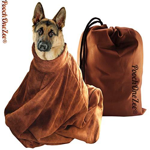 """PoochOneZee® """"Dry Fast"""" Tasche für Hunde – ein schnell trocknendes, saugfähiges Tuch zur Pflege von Haustieren geeignet, mit Klettverschluss. Farbe: Braun Gross"""