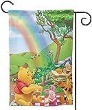 UPNOW Colaccy Garden Flag Winnie The Pooh Regenbogen Einzigartige dekorative Outdoor Yard Flags für Ihr Zuhause Weiß