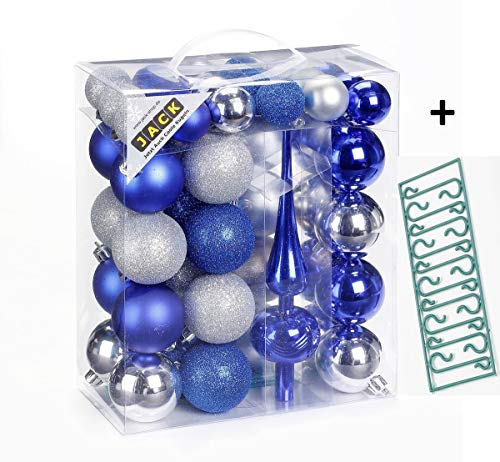 JACK by Inge 47x Kunststoff Kugel Christbaumkugeln Ø 4+6cm mit Spitze + Haken Glanz Glitzer Matt, Farbe:Blau-Silber