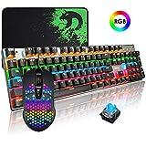 Packs de Teclado y ratón y Alfombrilla de ratón Teclado mecánico Gaming RGB Switch Blue, Ratón para Juegos 9 Botones 6400 dpi y Croma RGB - Negro