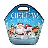Feliz Navidad Papá Noel Muñeco de nieve Reno en Navidad Escena de nieve Bolsa de almuerzo Bolso de mano Bolso de almuerzo Neopreno aislado Gourmet