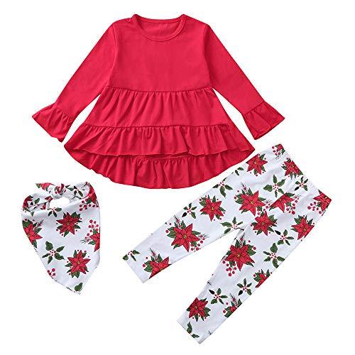 1-5 Jaar Peuter Baby Meisje Lange Sleeeve Outfit Kleding, Pasgeboren Kinderen Effen Jurken + Bloemen Print Broek + Sjaal 3 STKS Outfits Kleding Set