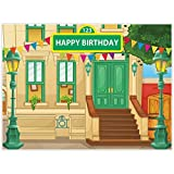 Allenjoy 8x6ft Cartoon Street Backdrop for Boy Girl Birthday Party Decoration 1st First Carnival Party Children Kids Baby Shower Photography Background Dessert Table Photo Studio Booth Props Banner