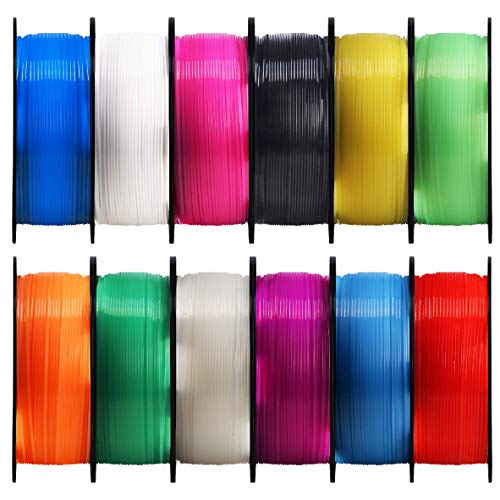 Mika3D 1.75mm 3D Printer Clear PLA Filament 12 in 1 Bundle, Most Popular Transparent Colors Pack, Each Spool 0.5kg, Total 6kgs Printing Material with One Bottle Sticker Gift