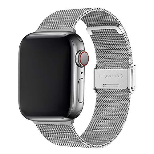 Cinturino per Apple Watch 42mm 44mm,Bracciale in Acciaio Inossidabile Compatibile con iWatch Series SE 6/5/4/3/2/1 (42mm/44mm, Argento)