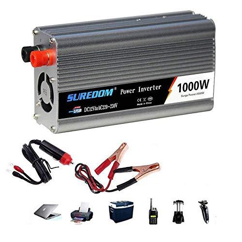 Auto Reiner Sinus Wechselrichter 500W/600W/800W/1000W/1200W/1500W/2000W Spannungswandler DC 12V/24V Auf AC 220V/230V/240V Umwandler - Inverter Konverter mit Steckdose und USB-Port,1000W-12Vto110V