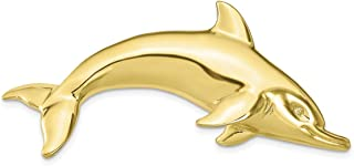 Lex & Lu 10k Yellow Gold Fits up to 6mm, 8mm Swimming Dolphin Slide