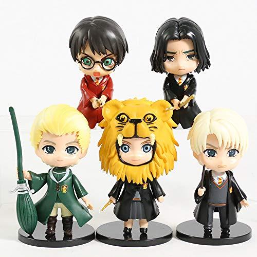 xingguang Anime Niños Regalo Hermione Granger Ron Weasley Draco Malfoy Severus Snape Luna Q Versión PVC Figuras Juguetes 5pcs/et (Color: 5pcs B)