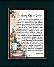 Genie's Poems Going Off to College, 145, Touching 8x10 Poem, Double-matted in Dark Green/Burgundy and Enhanced with Watercolor Graphics.