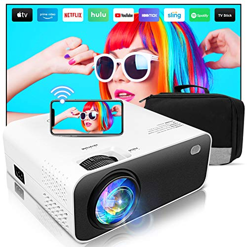 Mini Projector,Wevivi 2021 Upgraded Full HD WiFi Projector, 1280x720P Home Projector with Bag,5500Lumens Wired/Wireless Mirroring Portable Projector for TV Stick, Laptop, PS4, iPhone, Android/iOS