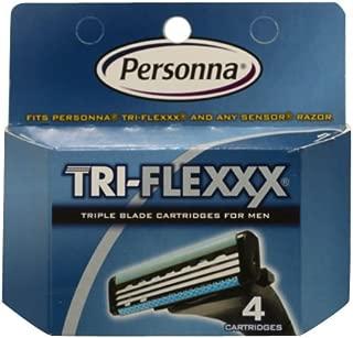 Personna Tri-Flexxx Razor System for Men Cartridge Refill Cartridges, 4 Count