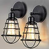 ENCOFT Lámpara de Techo Vintage Candelabros Lámparas Colgantes Retro Elegante Lámpara Industrial E27 (No Incluidas Bombillas) Iluminación de Metal para Sala, Dormitorio, Restaurante (Negro 9, 2)