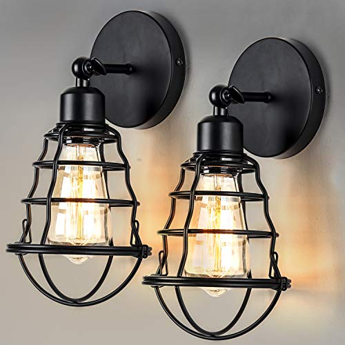 ENCOFT 2 er Wandlampe Vintage Industrial E27 Retro Wandleuchte vintage wandleuchte innen Industrial innen Metall Draht Käfig Lampenschirm schwenkbar Küchen Treppenhaus(Style 5, 1)