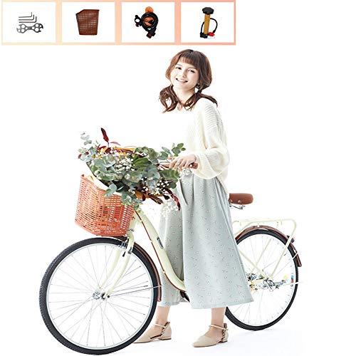 Ti-Fa Bicicleta para Damas y niñas Bicicleta de Crucero de Aluminio 26'Cambio de 6 velocidades V Frenos de luz de la Ciudad de cercanías Retro con Canasta, inflador, Herramienta de instalación