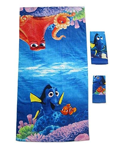 3 Pieces Disney Pixar 100% Cotton Bath, Hand, and Fingertip Towel Sets (Finding Dory)