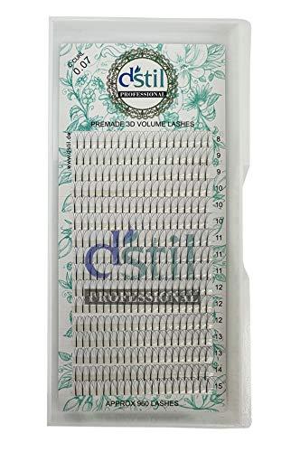 3D Bouquet Extension De Cils Volume Russe- Premade Volume Fan- Faux Cils Volume Russe Forme C Curl- Epaisseur 0,07mm -Longueur 8 mm pour Extensions de Cils (15 mm)