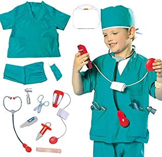 Yalla Baby Kids Doctor Surgeon Costume for Kid Boys & Girls, Pretend Dress up Role Play Accessories Set(3-8 Years, 80-110c...