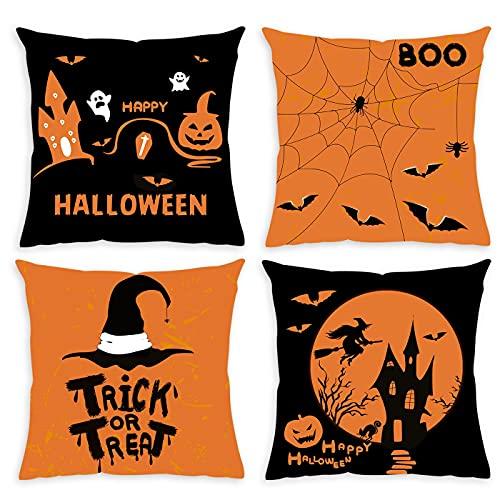 Happy Halloween Fundas de almohada 45,7 x 45,7 cm, fundas de almohada decorativas, decoración de granja, decoración de Halloween, castillo de murciélago bruja, fundas de...