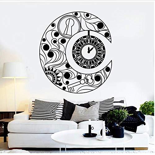 MUXIAND Muurstickers, Klok met maan symbool DIY PVC Home Decor Voor Woonkamer Kids Wall Art Kwekerij Van Ontwerp Decal Familie Waterdichte Board Glas Verwijderbaar 57x64cm