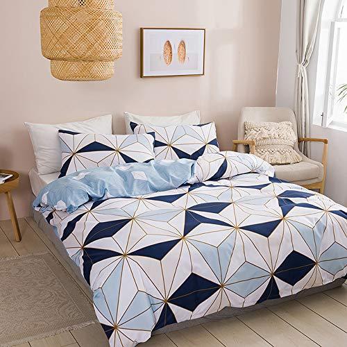 jinritong Juego de ropa de cama de 135 x 200 cm azul y blanco, diseño geométrico, funda nórdica reversible de microfibra + 1 funda de almohada de 80 x 80 cm