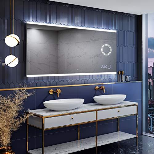 Artforma Badspiegel 100x60 cm mit LED Beleuchtung und Abdeckung (Slimline)- Wählen Sie Zubehör - Individuell Nach Maß - Beleuchtet Wandspiegel Lichtspiegel Badezimmerspiegel - LED Farbe zu Wählen L47