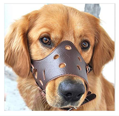 Bozal para perros, bozales de adiestramiento para perros, bucle transpirable y ajustable, evita ladridos, mordeduras y masticación (marrón/negro)