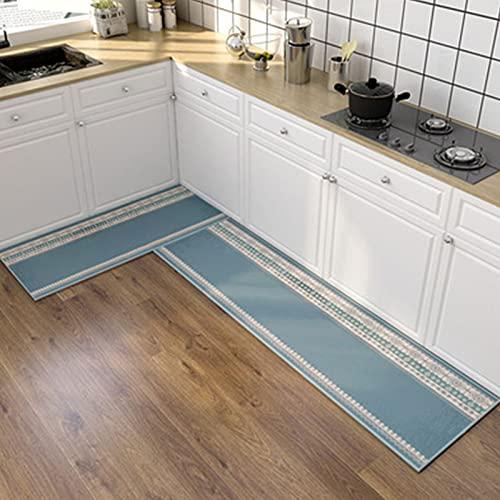 FASZFSAF Alfombras Cocina, Alfombras Cocina Moderna Alfombras Cuero Gruesas Alfombras Antideslizantes, para Sala Estar Dormitorio Felpudo Cocina,Azul,50cm×120cm