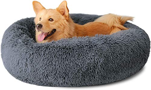 Round Plush Dog Bed Cat Bed,Super Soft And fluffy Pet Bed Pet Sofa And Improved Sleep,Anti-Slip Bottom,Machine Washable(suitable for small medium pets up to 40lb)