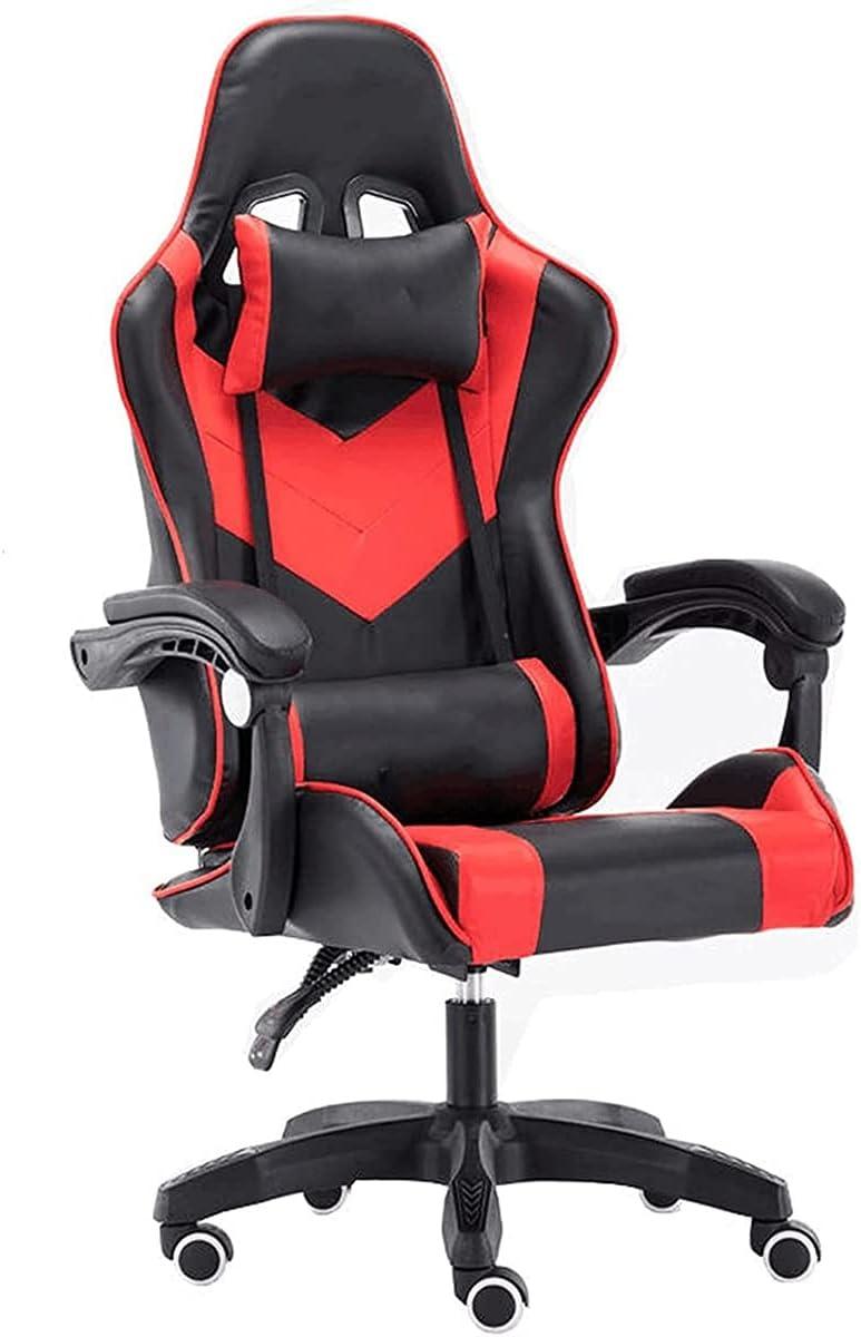 Sillas de juego con reposapiés de pie de repuesto de la computadora de retroiluminación regular de la silla de juego ergonómico ajustable Silla de la computadora de carreras con reposacabezas y soport