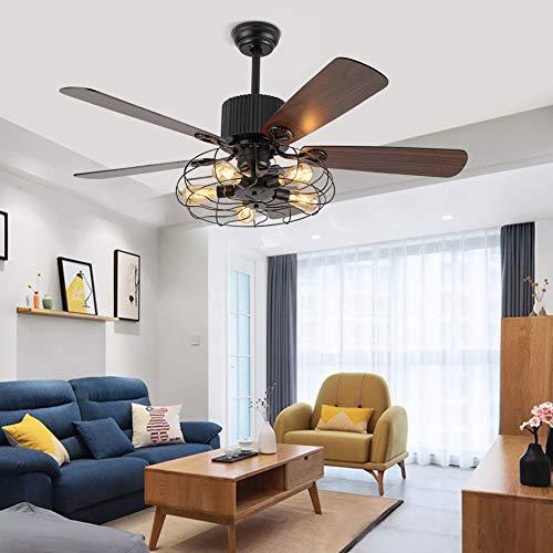 Ventilador de techo con iluminación y mando a distancia, E27, vintage, lámpara de techo, 5 aspas, velocidad ajustable, función de invierno y verano para dormitorio o salón