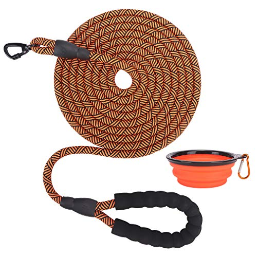 EXPAWLORER Reflective 10FT Dog Leash - Strong Dog Leash with Comfortable Padded Handle, Heavy Duty Rock Climbing Rope Dog Leash and Collapsible Dog Bowl, for Small Medium and Large Dogs Walking
