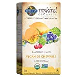 Garden of Life Organic Vitamin D - mykind Organics Vegan D3 Chewable - Raspberry Lemon, 2,000 IU (50mcg) Whole Food Vitamin D3 from Lichen Plus Food & Mushroom Blend, Gluten Free, 30 Chewable Tablets