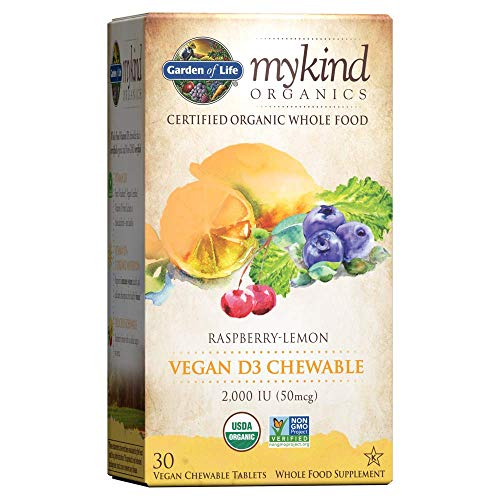 Garden of Life Organic Vitamin D - mykind Organics Vegan D3 Chewable - Raspberry Lemon, 2,000 IU (50mcg) Whole Food Vitamin D3 from Lichen plus Food & Mushroom Blend, Gluten Free, 30 Chewable Tablets